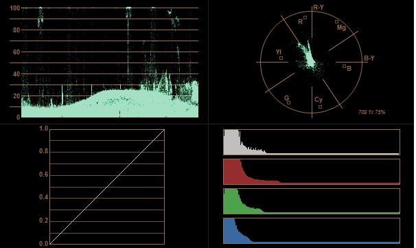 ProRes4444 x2 gamma öncesi histogram